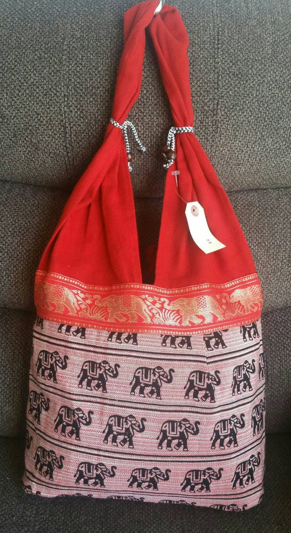 Hot Red Elephant purse Women's Purse Everyday Purse Boho Bag Ethnic purse Shoulder bag Ethnic bag Handmade Ethnic Bag Short Handle Bags