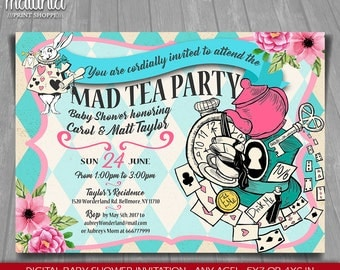 Alice in Wonderland Baby Shower Invitation - Alice in Wonderland Baby shower tea party Invite - Mad Hatter Baby Shower Party invitation