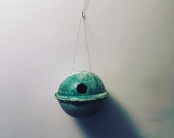 ghostnetgoods beach buoy birdhouse-nest box for blue tits and smaller birds, perfect for seaside garden or beach lovers