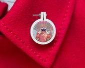 Mini embroidery hoop brooch Moonrise Kingdom