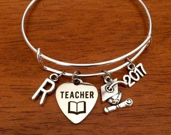 Teacher graduation gift, teacher graduation bracelet, 2017 college graduate jewellery, teacher bracelet, teacher gift, jewelry, bangle uni