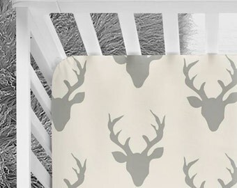 Woodland Deer Fitted Crib Sheet, Deer Bedding, grey and off-white neutral tones, baby bedding, nursery bedding, bucks, deer heads, crib