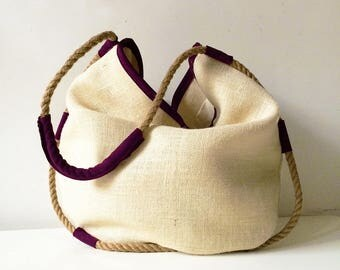 suede tote bag with hemp rope, jute bag gifts for her, womens accessories made in italy, limited edition