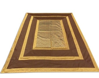 Indian Silk Brocade Design Brown Color Double Bed Cover 260x240 CM