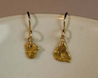 Two Solid 22K Yellow Gold Nugget Earrings