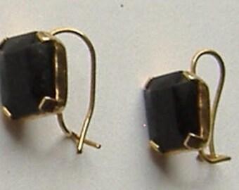 1950S BLACK GLASS earrings for pierced ears