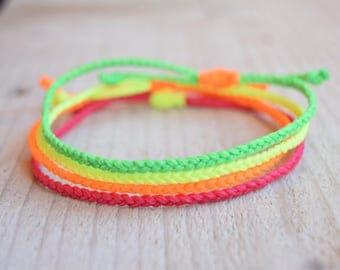 Waxed bracelets neon bracelets friendship bracelets minimalist string bracelets braided bracelets beach anklet string jewelry