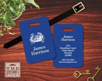 Blue Crab Personalized Luggage Tag - Personalized Coastal Bag Tag - Masculine Plastic ID Tag with Leather Strap - Travel Accessory Gift