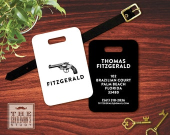 Vintage Pistol Personalized Luggage Tag - Monogrammed Hand Gun Bag Tag - Masculine Plastic ID Tag w/ Leather Strap - Travel Accessory Gift