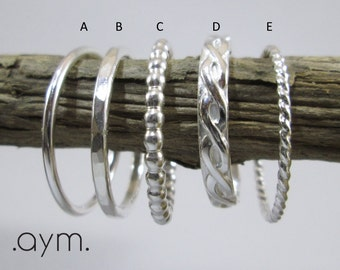 sterling silver stacking rings, minimalist dainty skinny ring stack, stackable 925 silver bands gift for her mom girlfriend wife BFF gift