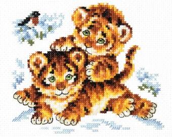 Cross Stitch Kit Childhood (tigers)