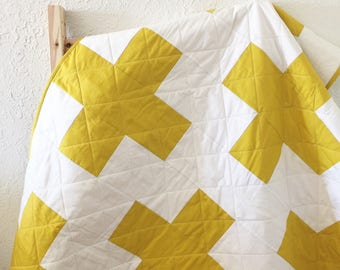 Modern Plus Quilt, Plus Toddler Quilt, Modern Baby Quilt, Swiss Cross Quilt, Modern Quilt, Handmade Quilts, Quilts for Sale