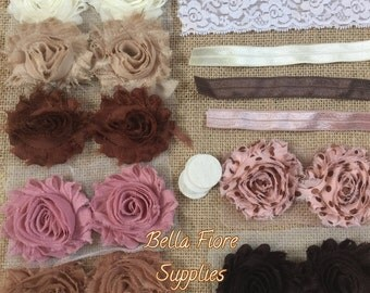 Vintage Headband Kit- Rustic Headband Kit- 8 DIY Headbands- Baby Shower Headband Kit- Craft Show- Shabby Flower Headband Kit-