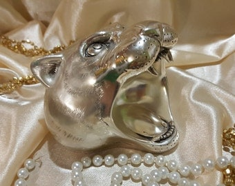 Vintage silver tiger head. Made in Italy
