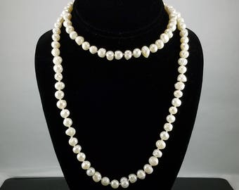 """32"""" Freshwater Baroque White Pearl Necklace"""