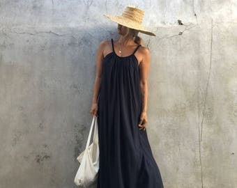 Dyed Black Maxi Dress, summer dress,prengnant woman,comfy,boho dress, beach cover up, Summer women dress, long dress,tall women dress