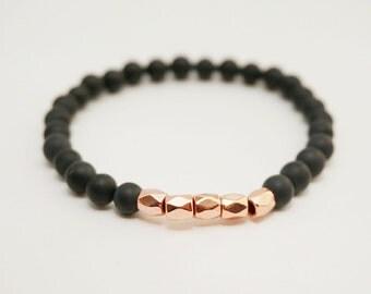 Rose gold bracelet, Pink gold bracelet, rose gold jewelry, Matte Onyx stone bracelet, skinny bracelet, stacking bracelet, gifts under 20