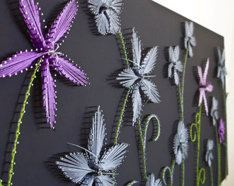 "String art flowers ""Purple Exceptions"" 