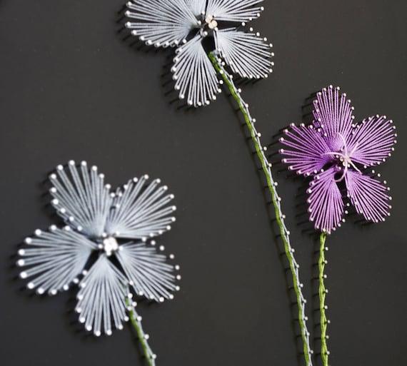 String Art Pattern Quot Three Flowers Quot String Art Diy