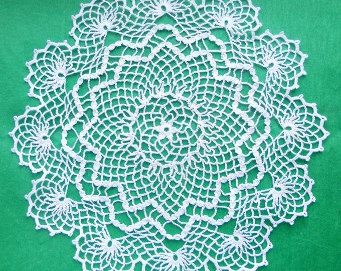 13 inch Crochet Lace Doily, Handmade White Doily, Housewarming Gift, White Table Decor, White Crochet Tablecloth, White Home Decor, Doilies