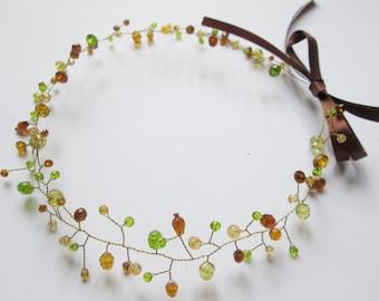 Womens headbands Hair vine Green hair Boho headband Olive hair Bridal headband Crystal hair Wedding vines Brown wedding Bridesmaids hair