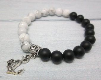 Mens gift Sea jewelry Mens bracelet Cute gift Bracelet for men Onyx jewelry Sea bracelet Black white bracelet Pirate jewelry Anchor bracelet