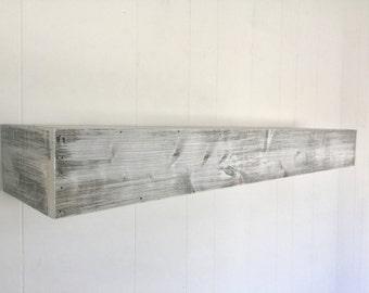 Wood floating shelf white distressed handmade