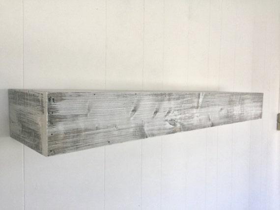 Wood Floating Shelf White Distressed Handmade // Rustic Shelf