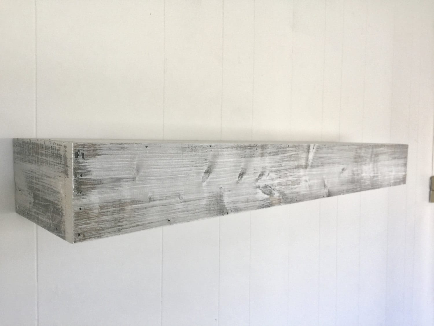 Wood Floating Shelf White Distressed Handmade