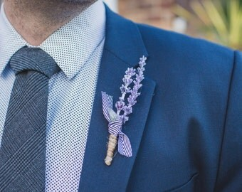 Lavender + Ribbon Rustic Groomsmen Boutonniere
