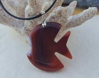 Fish necklace Onyx agate pendant, fish agate necklace, fish pendant necklace agate necklace