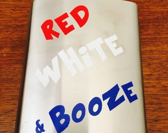 Red, White, & Booze Flask