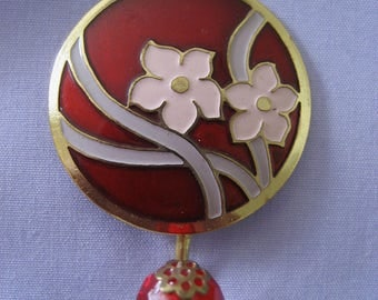 Magnetic Portuguese Knitting Pin Round Gold tone metal Cloisonne Flowers Red Pink Lavender Knitting tool Knitting supplies