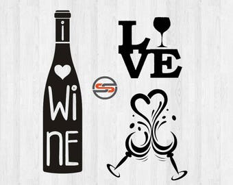 I Love Wine, Wine SVG Cut File, Wine Bottle, Wine Glasses, Hearts, DXF, Silhouette, Cricut, Cameo, Instant Download, Template, Transfer