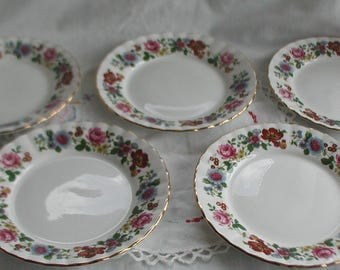 A Set of Five English Fine Bone China Plates Floral Design