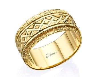 woman wedding ring yellow gold ring glitter ring 14k ring wedding band - Woman Wedding Rings