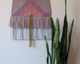 Woven Wall Hanging // Pink // White // Mustard // Taupe // Mauve