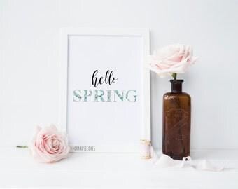 Hello Spring Floral Print - Home Decor Print