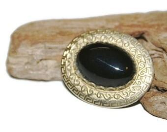 Black Onyx Brooch, Gold and Black Jewelry, Gemstone Brooch, Gemstone Jewelry, Natural Stone Jewelry, Vintage Jewelry, Black Onyx Pin
