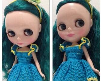Blythe Crocheted Ballerina Blue Dress and Headband