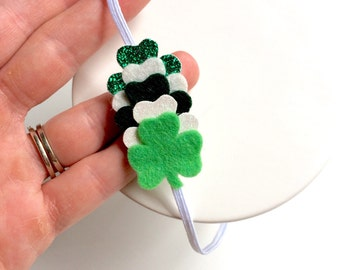 St  Patricks Day Shamrock Headband - green and white glitter shamrocks - St Patty's day - Luck of the Irish