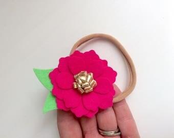 Bright fuchsia pink zinnia flower with gold center - alligator clip - headband