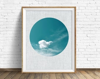 "cloud art, cloud photograph, instant download printable art, printable wall art, large art, sky, blue art, printable wall art - ""Float On"""