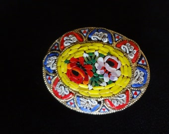 Micro Mosaic Brooch with Floral Pattern in the Millefiori Technique