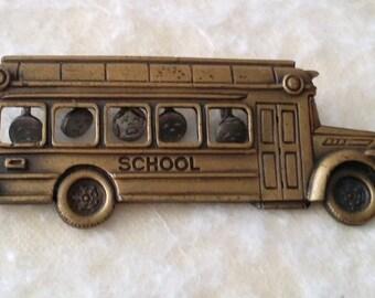 Signed JJ Bronze Tone School Bus Pin Brooch