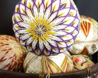 Japanese Temari ball Chrysanthemum purple with white
