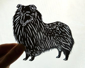 Original Shetland Sheepdog Paper Cutting, Scherenschnitte, Dog Portrait, Sheltie Gift, Sheltie Collectible