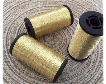 Set of 3 spools of thread gold Italian type Skalli for embroidery