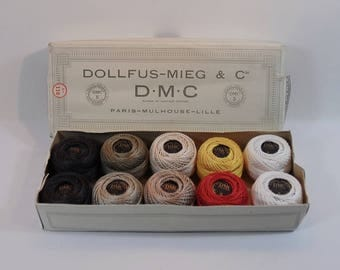 Vintage French Dollfus-Mieg & Cie DMC Perle Cotton Thread No 5 Box Of 10 Balls, White, Red, Yellow and Shades of Brown Embroidery Cotton,
