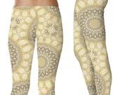 Womens Yoga Pants. Mustard Yellow and Gray Yoga Mandala Tights. Boho Leggings. Stretchy Yoga Leggings. Printed Art Leggings